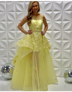 Sheer Neckline Light Yellow Embroidered Tulle Prom Dress PD2238