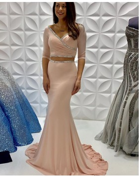 Two Piece Nude Satin Ruched Mermaid Beading Prom Dress with Half Length Sleeves PD2239