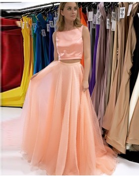 Bateau Neckline Blush Pink Two Piece Prom Dress with Beading Skirt PD2240