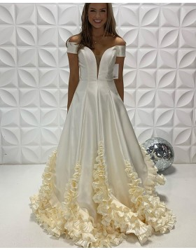 Off the Shoulder White Satin Prom Dress with Ruffle Hems PD2242