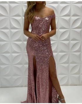 V-neck Rose Gold Sequin Mermaid Prom Dress with Double Side Slits PD2243