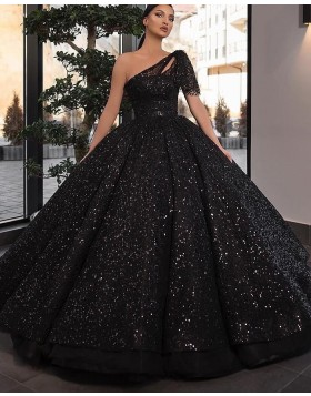 One Shoulder Black Sequin Ball Gown Prom Dress with Short Sleeves PD2245