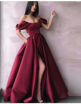 Off the Shoulder Burgundy Pleated Satin Prom Dress with Side Slit & Pockets PD2246