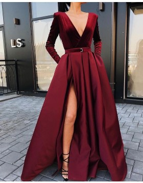 Simple V-neck Burgundy Satin Long Sleeve Prom Dress with Side Slit PD2249