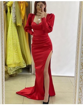 Square Neckline Red Ruched Long Sleeve Prom Dress with Side Slit PD2250