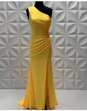 One Shoulder Fuchsia Satin Sheath Prom Dress with Side Slit PD2251