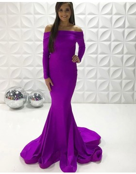 Simple Off the Shoulder Purple Satin Mermaid Prom Dress with Long Sleeves PD2253