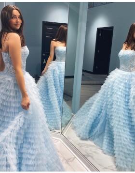 Light Blue Spaghetti Straps Lace Bodice Prom Dress with Ruffle Skirt PD2257