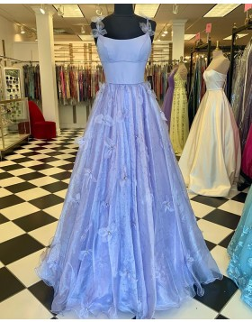 Light Blue Spaghetti Straps Beading Pleated Prom Dress with 3D Flowers PD2258