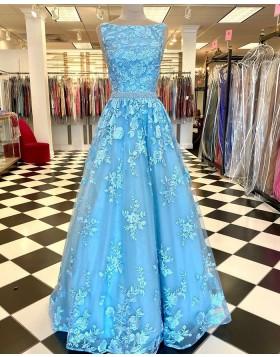 Mint Lace Bateau Neckline Prom Dress with Beading Waist PD2259
