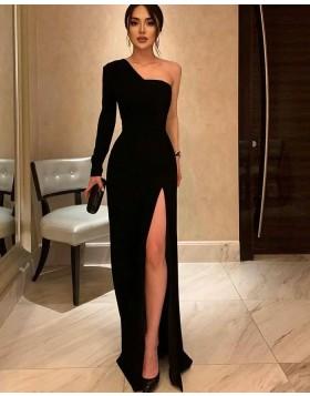 One Shoulder Black Sheath Long Sleeve Formal Dress with Side Slit PD2261