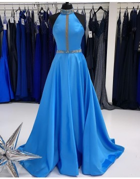 High Neck Beading Blue Satin A-line Prom Dress PD2262