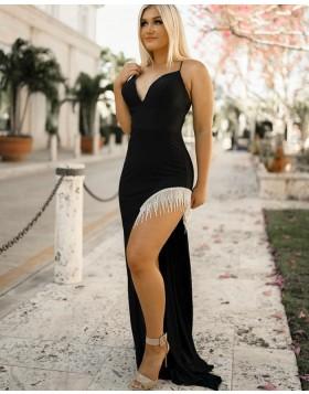 Spaghetti Straps Black Mermaid Prom Dress with Tassels Side Slit PD2263