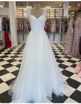 White Square Neckline Ruched Tulle Prom Dress with Feather Straps PD2265