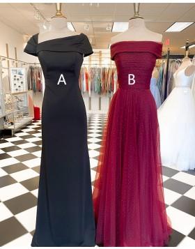 Black Square Neckline Sheath Satin Prom Dress with Short Sleeves PD2267