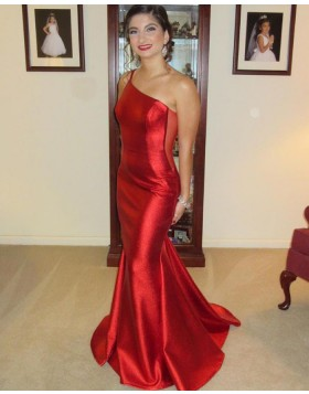 One Shoulder Red Mermaid Satin Prom Dress PD2276