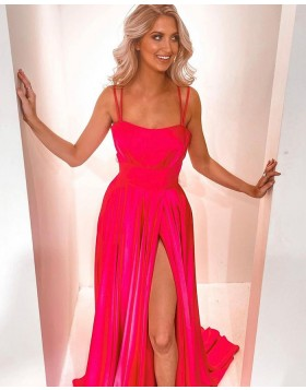 Double Spaghetti Straps Red Satin Prom Dress with Side Slit PD2278