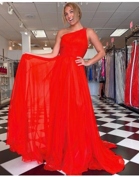 Simple One Shoulder Red Chiffon Prom Dress with Side Slit PD2281