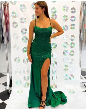 Spaghetti Straps Green Sequin Bodice Mermaid Prom Dress with Side Slit PD2282