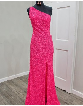 One Shoulder Red Sequin Mermaid Prom Dress with Side Slit PD2295