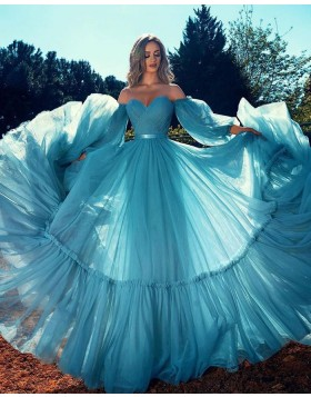 Off the Shoulder Ruched Tulle Blue Prom Dress with Long Sleeves PD2297