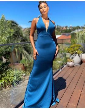 Halter Satin Blue Mermaid Prom Dress with Side Slit PD2301