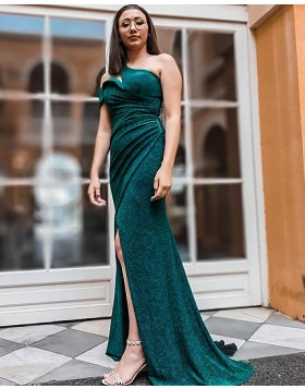 Sparkle Cutout One Shoulder Green Ruched Mermaid Prom Dress with Side Slit PD2305