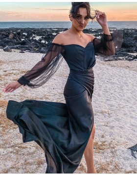 Off the Shoulder Black Ruched Satin Mermaid Prom Dress with Long Tulle Sleeves PD2307