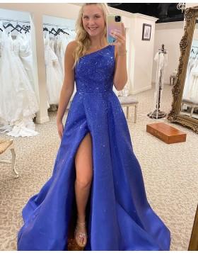 One Shoulder Blue Sparkle Satin Prom Dress with Side Slit PD2308