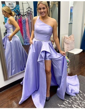 One Shoulder Lavender Satin Ruched Prom Dress with Pockets PD2311