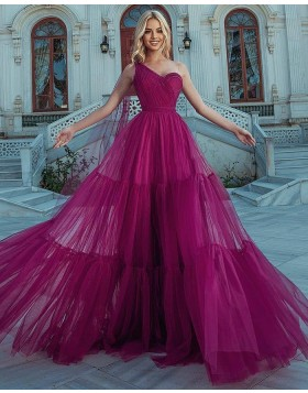 One Shoulder Burgundy Tulle Ruffled Prom Dress PD2325