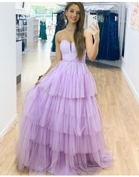 Sweetheart Lavender Tulle Prom Dress with Layered Skirts PD2328