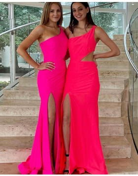 One Shoulder Cutout Pink Satin Mermaid Prom Dress with Side Slit PD2331