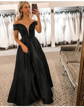 Off the Shoulder Black Beading Bodice Satin Prom Dress PD2333