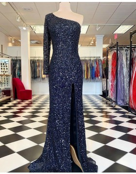 One Shoulder Blue Sequin Long Sleeve Mermaid Prom Dress with Side Slit PD2334