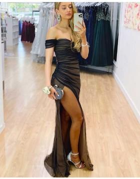 Off the Shoulder Ruched Tulle Black Prom Dress with Side Slit PD2336