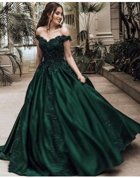 Off the Shoulder Appliqued Long Satin Ball Gown Prom Dress PM1113