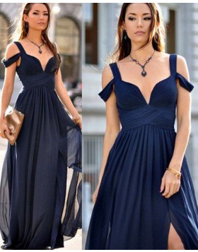 Cold Shoulder Pleated Navy Blue Chiffon Long Prom Dress with Side Slit PM1114