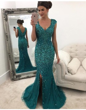 Elegant Scoop Green Beading Side Slit Mermaid Long Formal Dress PM1115