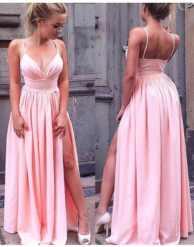 Spaghetti Straps Pink Pleated Long Prom Dress with Side Slit PM1118