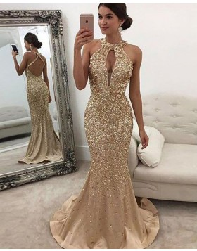 Gold High Neck Beading Cutout Mermaid Long Evening Dress PM1119