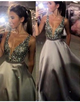 Deep V-neck Beading Bodice Ivory Satin Ball Gown Prom Dress with Pockets PM1120