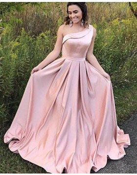 One Shoulder Blush Pink Satin Simple Long Formal Dress PM1123