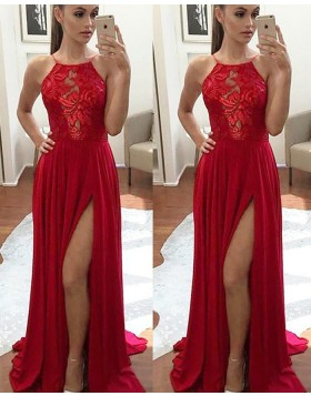 Spaghetti Straps Lace Bodice Chiffon Red Prom Dress with Side Slit PM1124
