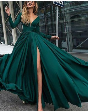 Deep V-neck Satin Green Side Slit Formal Dress with Long Sleeves PM1126