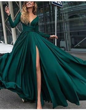 Deep V-neck Satin Green Side Slit Formal Dress with Long Sleeves PM1126