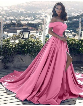 Off the Shoulder Pink Satin Ball Gown Formal Dress with Side Slit PM1128