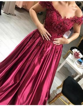 Off the Shoulder Beading Handmade Flowers Burgundy Ball Gown Prom Dress PM1129