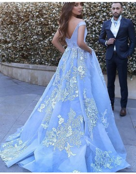 Off the Shoulder Sky Blue Appliqued Ball Gown Prom Dress with Pockets PM1130