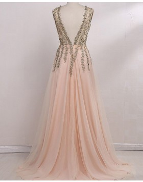 V-neck Lace Beading Bodice Pink Long Prom Dress with Side Slit PM1132